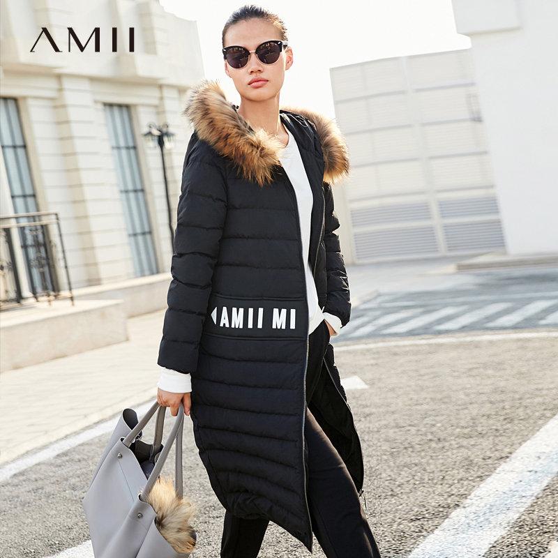 【品牌团 1件7折/2件5折】Amii[极简主义]奢华 貉子毛领90绒羽绒服女 冬季字母印花连帽上衣