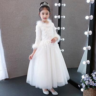 秋冬白色加绒厚款小花童生日晚礼服儿童礼服公主裙女童蓬蓬裙长袖 【白色夹棉 长款】