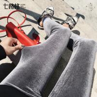 灰色打底裤女士外穿2017秋冬装季新款紧身显瘦光泽丝绒百搭长裤子