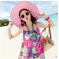 新款沙滩裙雪纺碎花吊带海边度假波西米亚长裙连衣裙显瘦胖mm大码
