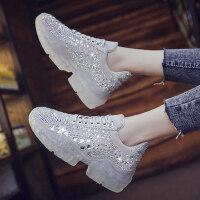 鞋子女运动鞋平底松糕水钻鞋户外时尚水晶厚底增高老爹鞋ins潮