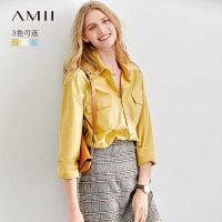 【3折价:82元/再叠优惠券】Amii2019秋装新款设计感小众男友衬衫宽松白色衬衣休闲长袖上衣女