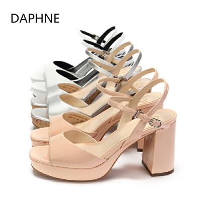 Daphne/达芙妮圆漾鱼嘴交叉裸带粗高跟鞋女凉鞋