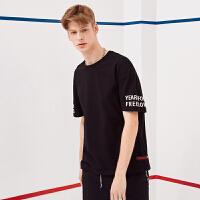 A21短袖T恤男 时尚休闲个性撞色字母印花青年圆领夏装半袖上衣