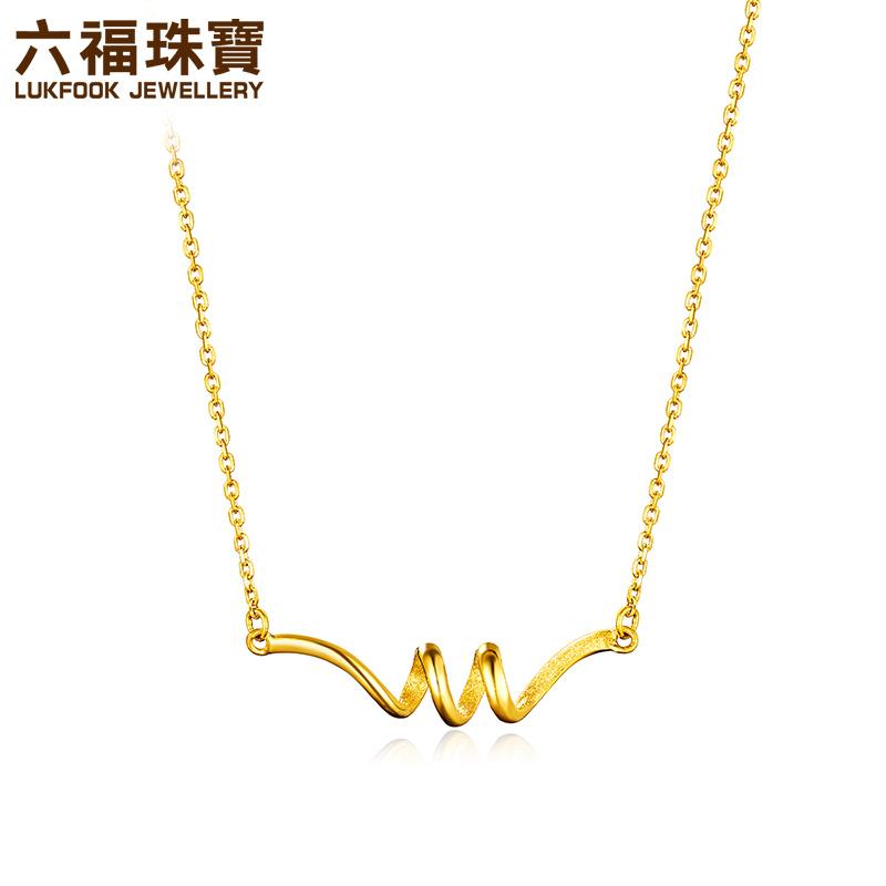 六福珠宝丝带黄金项链吊坠女款足金套链含坠  L05TBGN0008简单线条 在柔韧中迸发力量 支持使用礼品卡