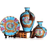 家具摆件家居饰品客厅电视柜上装饰品陶瓷花瓶三件套中式瓷器