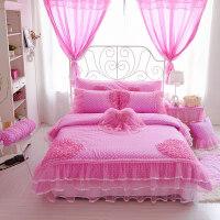韩版公主花边床裙四件套粉色蕾丝床单结婚庆床上用品春夏 -加大被套