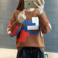 【多色可选】2017秋冬新款韩版厚款套头毛衣女针织衫个性撞色短款圆领打底衫上衣