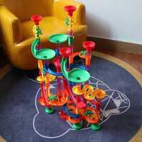 百��和��L珠�道滑道��珠玩具游�蛱�空管道�e木益智滑道拼�b玩具
