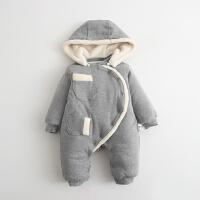 婴儿连体衣服男宝宝0新生儿3个月1秋冬季冬装6加厚外出抱衣绒
