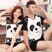 情侣睡衣夏季可爱卡通熊猫短袖纯棉学生女夏天家居服男士套装 短袖SDM立体熊猫 短袖情侣