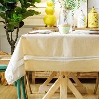 日式色桌布布艺防水棉麻餐桌布台布素色简约现代长方形茶几家用