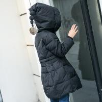 翼皇 新款女童毛球款羽绒服外套2017新品儿童羽绒服中长款