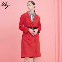 Lily春新款女装时尚欧美中长款大红腰带风衣117100C1601