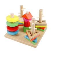 木制四套柱男宝宝女孩六一礼物婴儿童力积木玩具1-2-3-6周岁