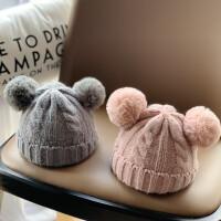 婴儿帽子毛线帽新生冬天儿童时尚女童潮秋冬可爱萌