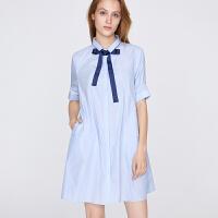 红袖/HOPESHOW蝴蝶结系带短袖A摆衬衫连衣裙