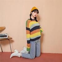 chuu毛衣女宽松外穿2020春装款韩版学生慵懒风彩虹条纹打底针织衫
