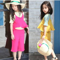韩版童装2018夏季新女童马甲套装中大儿童吊带上衣+阔腿裤2件套装