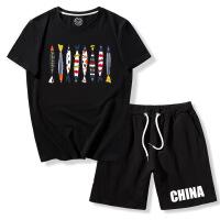 男士休闲短裤子夏天沙滩海边度假短袖t恤半袖套装夏季五分裤宽松