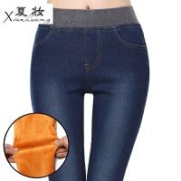 夏妆加绒牛仔裤女人冬天外穿松紧腰带保暖加厚铅笔小脚裤三四十岁中年