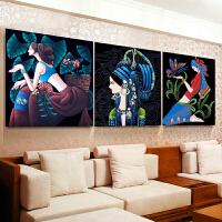 印花十字绣客厅简约现代挂画卧室小幅简单云南重彩人物
