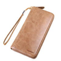 男士手包真皮大容量长款钱包 男式多卡位手拿包 拉链手机包韩版 支持礼品卡支付