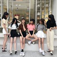 春夏女装韩版原宿风修身显瘦T恤纯色简约基础款短袖打底衫上衣潮