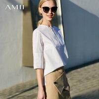 【AMII大牌日 2件4折】Amii极简韩范设计感小清新衬衫2018夏季圆领落肩袖全棉宽松上衣