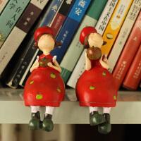 红色苹果姑娘一对欧式树脂小摆件可爱吊脚娃娃客厅酒柜装饰品摆件 一对(2个)