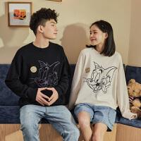【200元3件】猫和老鼠唐狮秋冬新款情侣装毛衣男女荧光针织衫加厚潮毛衫