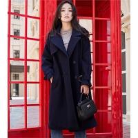 羊毛呢外套女冬新款复古显瘦气质宽松双排扣插肩袖加厚呢子大衣