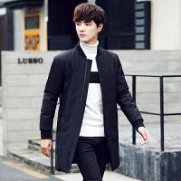 韩版中长款反季清仓羽绒服青年立领加厚男士冬季保暖帅气外套学生