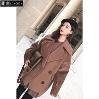 2017秋冬时髦气质款大翻领呢大衣女内搭连衣裙时尚套装两件套