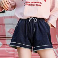 七格格牛仔短裤女高腰春装新款阔腿裤学生韩版宽松a字原宿bf热裤子