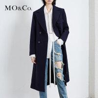 MOCO翻领口袋收腰中长款A字型毛呢大衣外套MK173OVC202 摩安珂