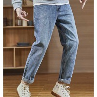 [直降]唐狮秋冬季加绒牛仔裤男士潮牌宽松直筒韩版潮流长裤子黑色款