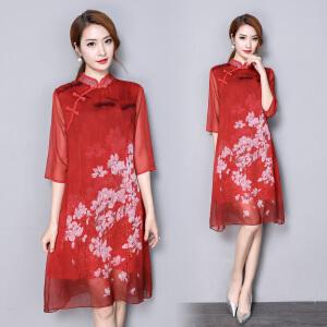 RANJU然聚 2018夏季女装新品新款日常旗袍中长款优雅改良旗袍复古中长款清新裙子
