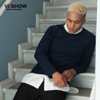 VIISHOW潮牌男装新款卫衣男士套头圆领卫衣青年衣服纯色上衣