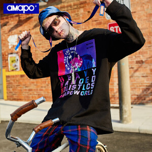 【限时抢购到手价:99元】AMAPO潮牌大码男装秋季圆领长袖T恤加肥加大码宽松胖子套头卫衣男