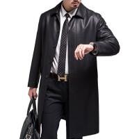 新款男装风衣商务修身长款绵羊皮风衣海宁真皮皮衣男人的风度 黑色