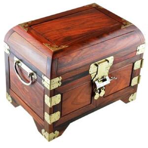 红酸枝素面独板珠宝箱长30宽20高23cm