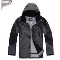 冲锋衣冬季男抓绒内胆两件套三合一三层压胶防暴雨户外保暖滑雪服