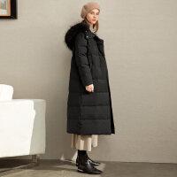 Amii极简气质加长款貉子毛领羽绒服2019冬新款宽松拉链90绒外套