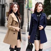 2017秋冬新款韩版修身毛呢外套西装领妮子上衣中长款款呢子大衣潮