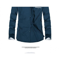 男士秋季长袖衬衫时尚英伦加绒休闲衬衣免烫男装韩版修身潮流衣服