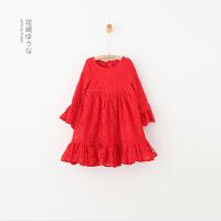 GY9361-秋冬新款童装女童纯色蕾丝加绒连衣裙