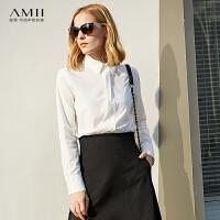 【会员节! 每满100减50】Amii[极简主义]通勤休闲舒适百搭衬衫女2018春新品显瘦上衣