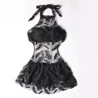 韩版连体裙式羽毛比基尼白色泳衣小胸聚拢显瘦遮肚温泉海边蜜月女 黑色 (黑色)