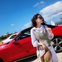 春装2018新款时尚女装网红俏皮套装港味衬衫连衣裙女小心机两件套 卡其色+白色 【两件套】